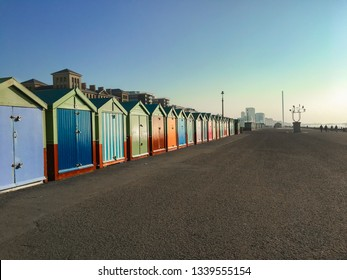 Row of beach huts in Brighton and Hove, Sussex, England