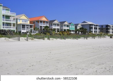 Row of beach rentals on a summer day
