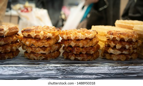 Row of Belgian waffles for selling.