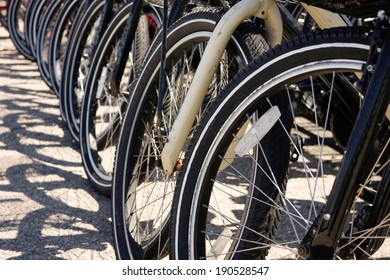 Row of bicycle tires and wheels in a line parked evenly.