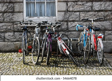 Row of bicycles in Dublin