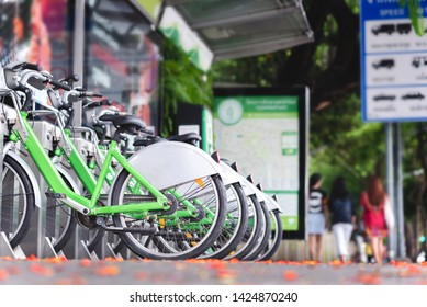 Row of bicycles parked. Save the world and environment concept.
