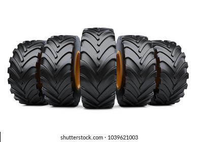 Row of big vehicle truck tires. New car wheels set. 3d illustration over white background.