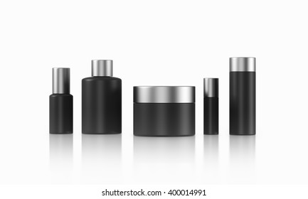 Row of black cream boxes of different shapes. White background. Concept of cosmetics. Mock up. 3D rendering