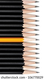 Row of black pencils with one yellow pencil in middle. On white with drop shadow. Clipping path for pencils included.