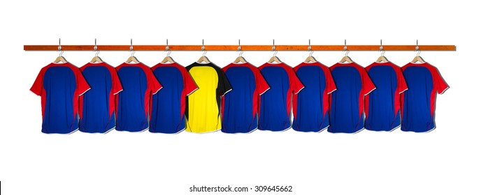Row of Blue Football Shirts with Yellow Goalie Shirt - No Numbers