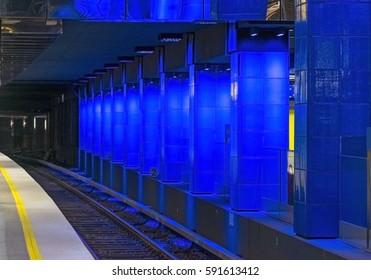 Row of blue lit columns
