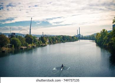 Row Boat In Neckar River Stuttgart, Germany