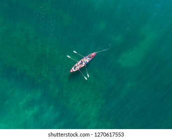 Row boat in the ocean