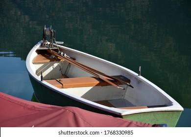 a row boat on a lake