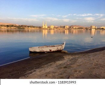 Row boat on Nile River in Egypt