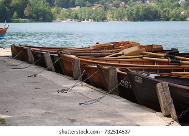A row of row boats.