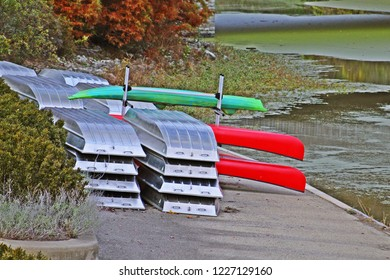 Row boats and canoes stored on out of water for off season
