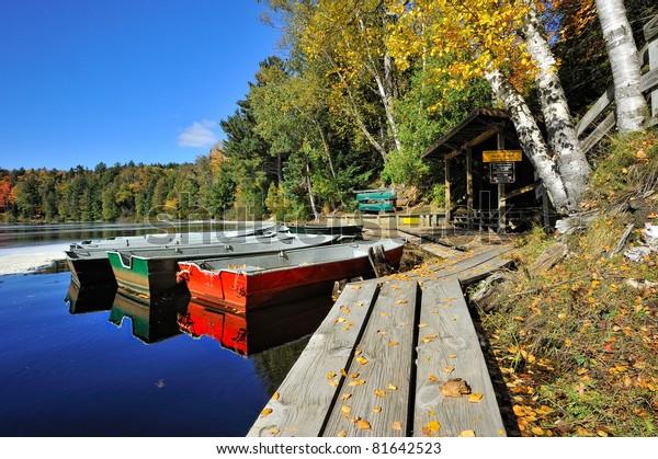 Row Boats and dock Tahquamenon river