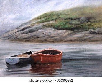 row boats ocean peggy's cove torn edges