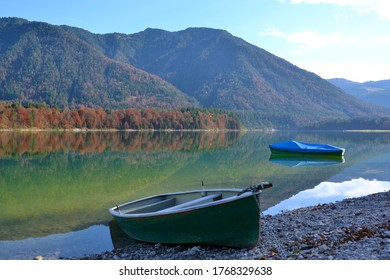 row boats at the sylvensteinspeicher lake in germany