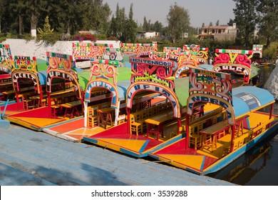 Row of boats in Xochimilco, Mexico city
