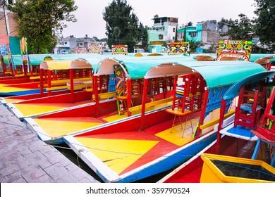 Row of boats in Xochimilco, Mexico city. Latin America.