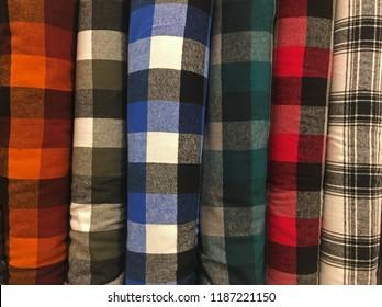 Row of bold flannel plaid fabrics