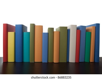 row books bright colors empty textbooks in line