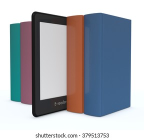row of books with an ebook reader, white background (3d render)