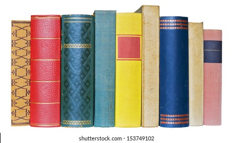 Row of books isolated on white background, free copy space
