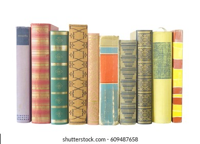 row of of books isolated on white background