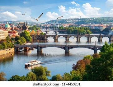 Row of bridges in Prague at summer day