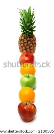Row of bright fresh fruits isolated on white background