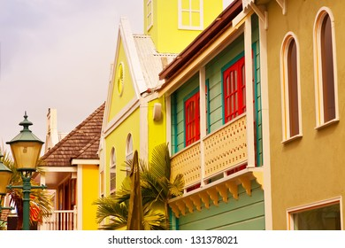 Row of brightly painted and unique designs are typical in the Caribbean Culture.