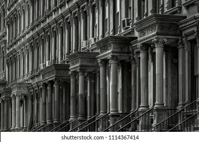 Row of Brownstone Houses in Malcolm X Boulevard, Harlem (New York)