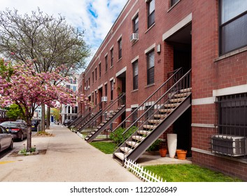 A row of Brownstones in New York, USA