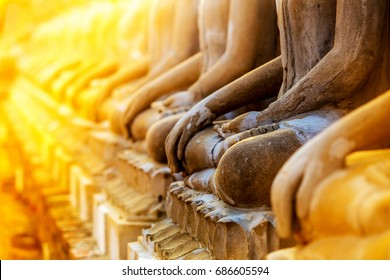 Row of Budda statues in sunlight, maditation pose, Peace of mind background concept