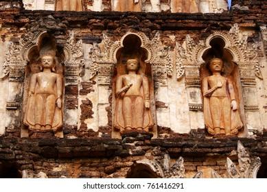 Row of buddha statues in thailand, Lamphun thailand
