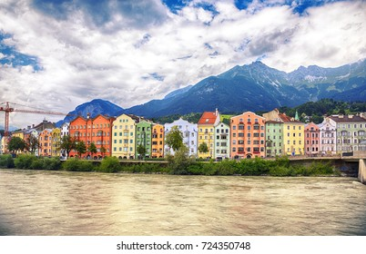 row of building by river Inn, Innsbruck, Austria