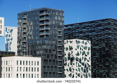 Row of buildings of the Barcode Project in Oslo, Norway.