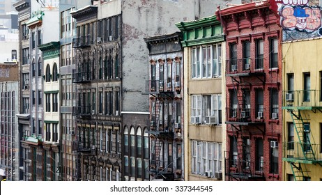 Row of buildings on a block in Chinatown, New York City