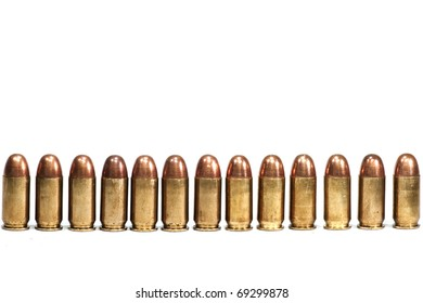 Row of bullets on white background isolated