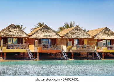 Row of bungalows near the water in El Gouna town, Egypt.