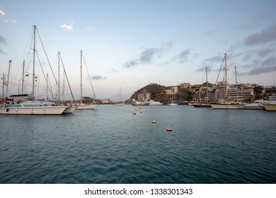 Row of buoys in the marina port, the bay of Mindelo, Cape Verde.