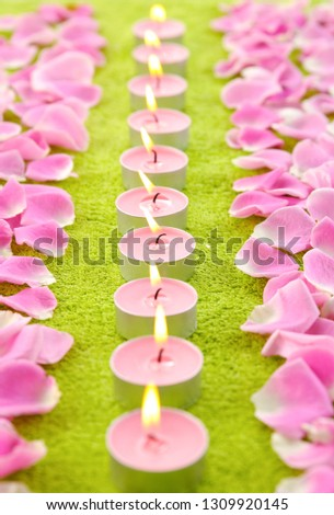 Row Burning Candle Rose Petals On Stock Photo (Edit Now