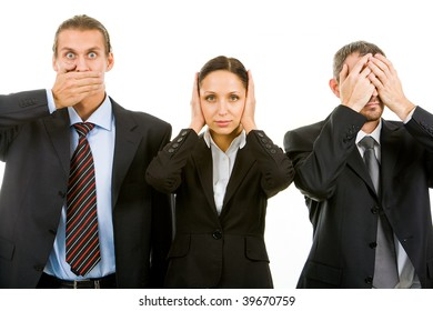 Row of business partners closing their eyes, mouth and ears