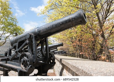 A row of canons in fall. A row of canons face outward in a fall setting.