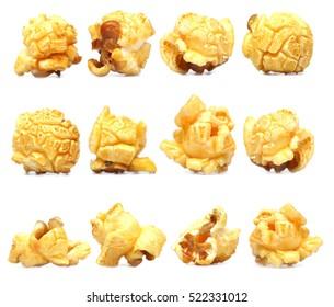 Row of caramel popcorn isolated