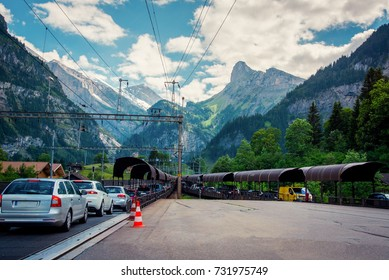 Row of cars to get in the car trains between Kandersteg and Goppenstein, Switzerland