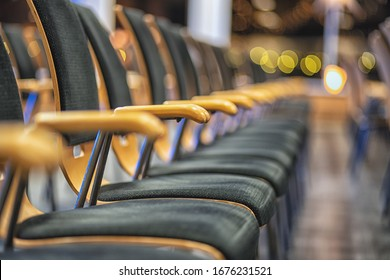 Row of chairs in boardroom. extremely shallow depth of field.