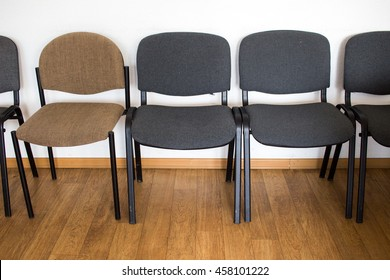 Row of chairs in a classroom in a university in Poland