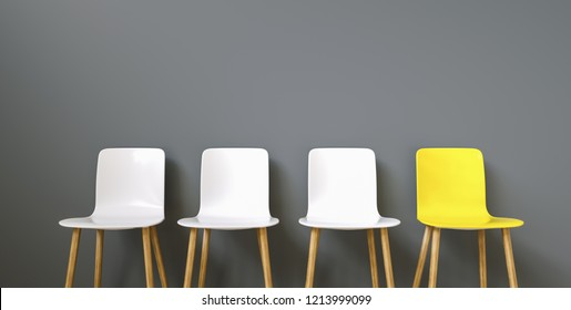 Row of chairs with one odd one out. Job opportunity. Business leadership. recruitment concept