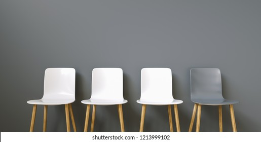 Row of chairs with one odd one out