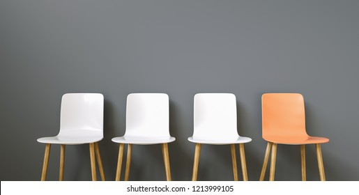 Row of chairs with one orange. Job opportunity. Business leadership. recruitment concept